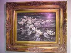 324: Oil on Canvas, White Ducks, in Carved Gold Frame: