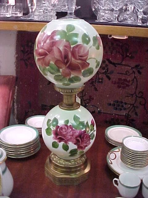 339: Gone With The Wind Electric Hand Painted Lamp: