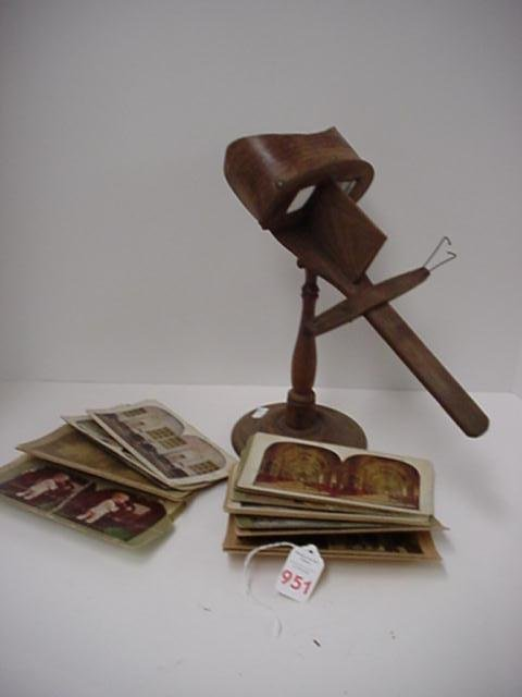 951: Vintage Glass Lens Stereoptic Stereoscope on Stand