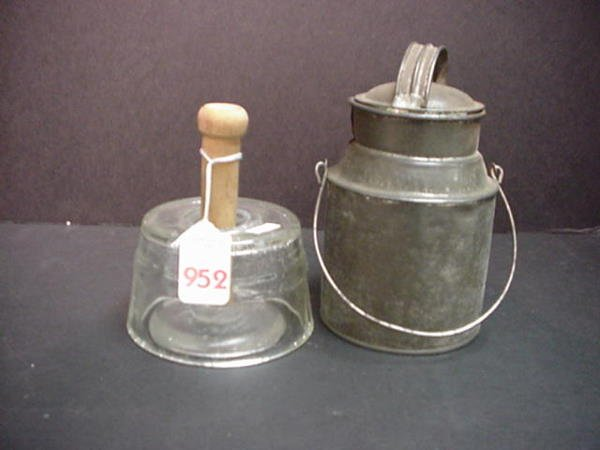 952: Glass and Wood Butter Press and Mini Tin Milk Can: