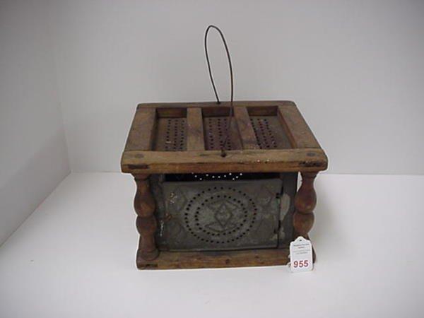 955: Wood and Pierced Tin Footwarmer: