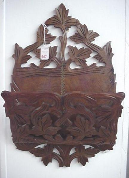 957: Victorian Walnut Wall Folio Pocket: