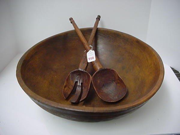 958: Primitive Carved Wooden Salad Bowl With Servers: