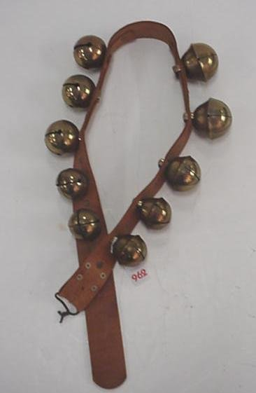 962: Brass Horse Sleigh Bells on Leather Harness: