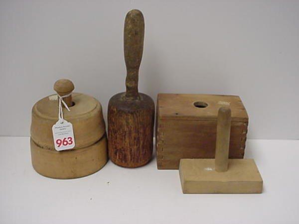 963: 3 Vintage Wooden Butter Presses and Pestle: