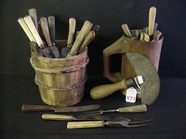 971: Vintage Oaken Bucket, Mug and Civil War Era Utensi