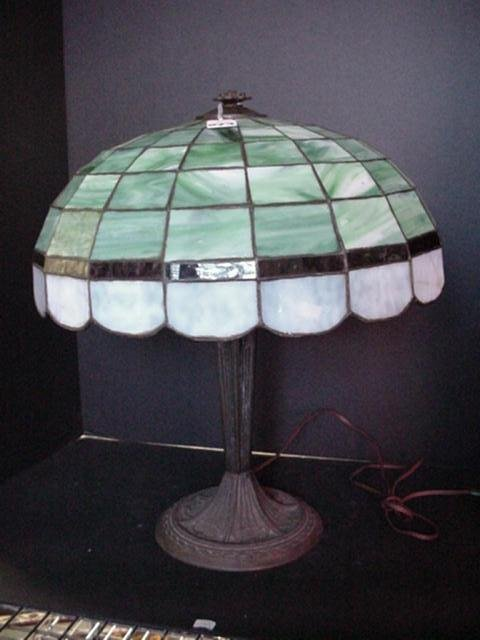 973: Cast Metal Table Lamp with Slag Glass Shade: