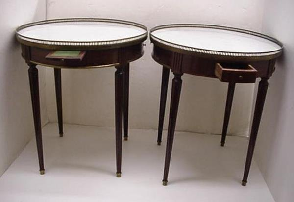 1014: Pair of Round Mahogany Marble Top Tables: