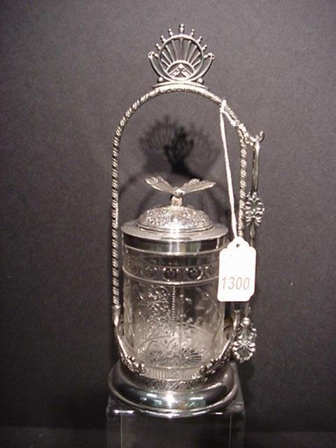1300: Victorian Pickle Castor with Butterfly Finial: