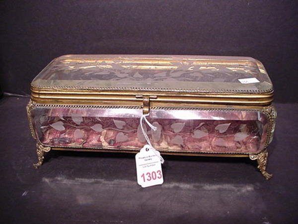 1303: 19th C. Beveled Crystal Dresser Box with Lining: