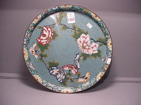 1305: Early Cloisonné Chinese Blue Tray: