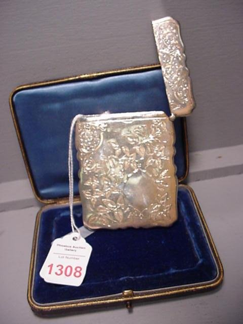 1308: 1890 London Sterling Chased Card Case, Original B