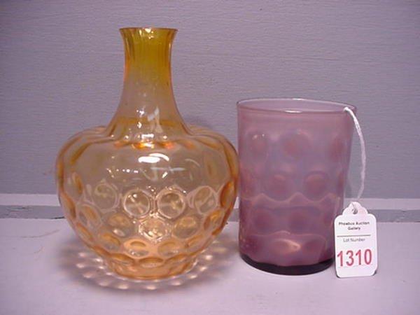 1310: Coin Dot Lavender Tumbler & Pink Ice Vase: