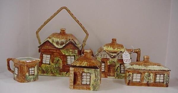 1317: 5 Piece Price English Cottage Ware Tea Set: