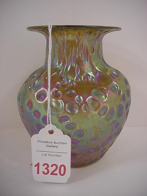 1320: Gold Iridescent Loetz Ovoid Form Vase: