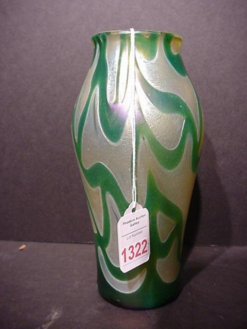 1322: Iridescent Gold and Green Irridized Bohemian Vase