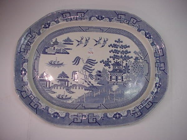 1470: Spode Blue and White Blue Willow Serving Platter: