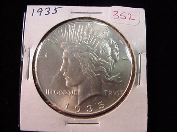 352: 1935 Peace Silver Dollar MS60: