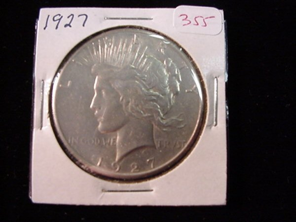 355: 1927 Peace Silver Dollar, MS60: