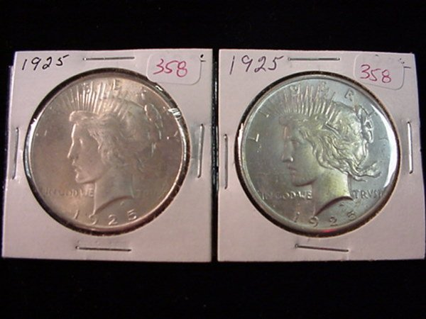 358: Pair of 1925 Peace Silver Dollar, MS60: