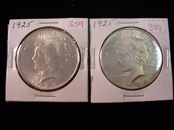 359: Pair of 1925 Peace Silver Dollar, MS60: