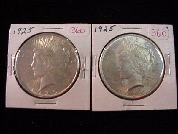 360: Pair of 1925 Peace Silver Dollar, MS60: