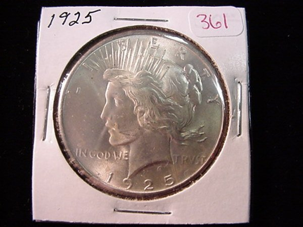 361: 1925 Peace Silver Dollar, MS60: