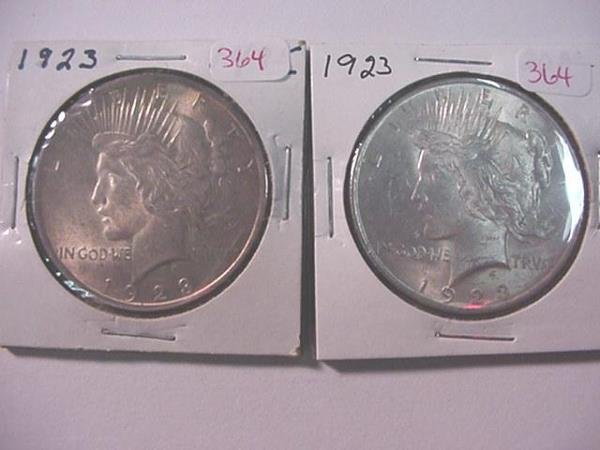 364: Pair of 1923 Peace Silver Dollars, MS60: