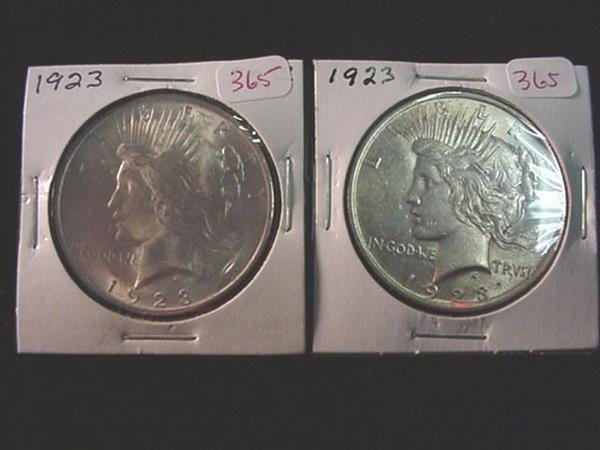 365: Pair of 1923 Peace Silver Dollars, MS60: