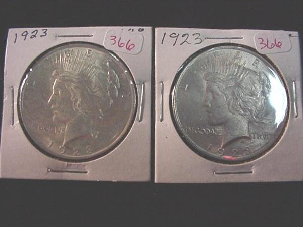 366: Pair of 1923 Peace Silver Dollars, MS60:
