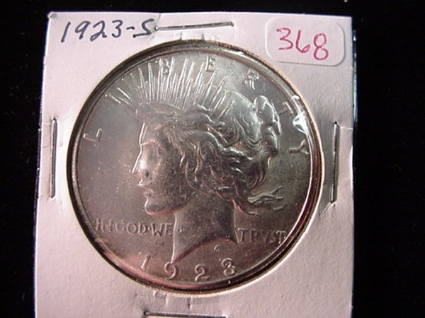 368: 1923 S Peace Silver Dollar, MS60: