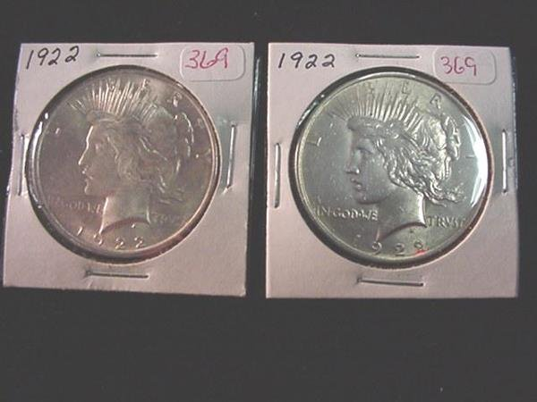369: Pair of 1922 Peace Silver Dollars, MS60: