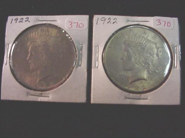 370: Pair of 1922 Peace Silver Dollars, AU55: