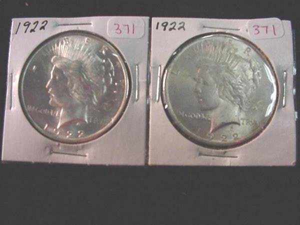 371: Pair of 1922 Peace Silver Dollars, MS60: