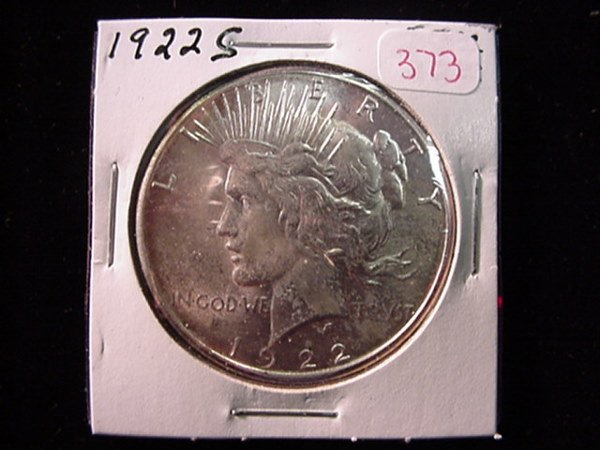 373: 1922 S Peace Silver Dollar, MS60: