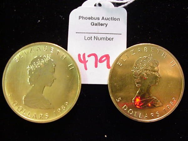 479: 2 Alterated 1989 Canadian 5 Dollar Silver Coins: