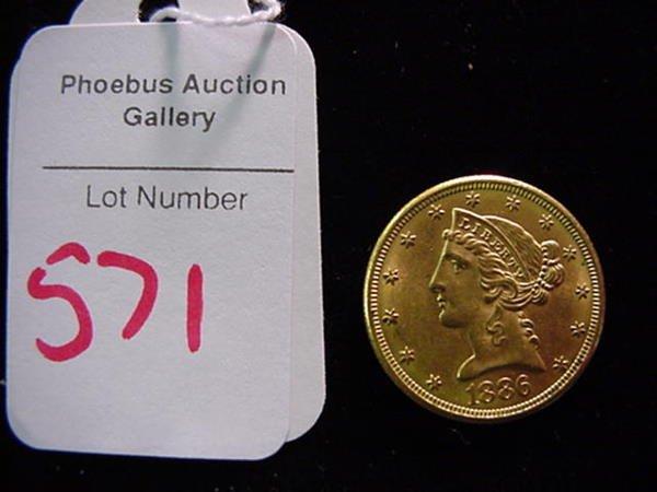 571: 1886 Gold Half Eagle MS 60, 5 Dollar Coin:
