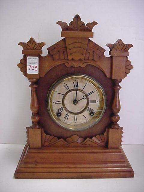 1753: Ansonia Walnut Case Shelf Clock: