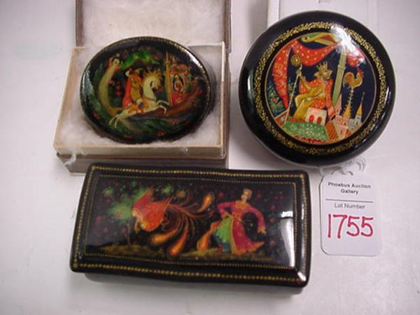 1755: 3 Hand Painted Lacquered Russian Dresser Boxes: