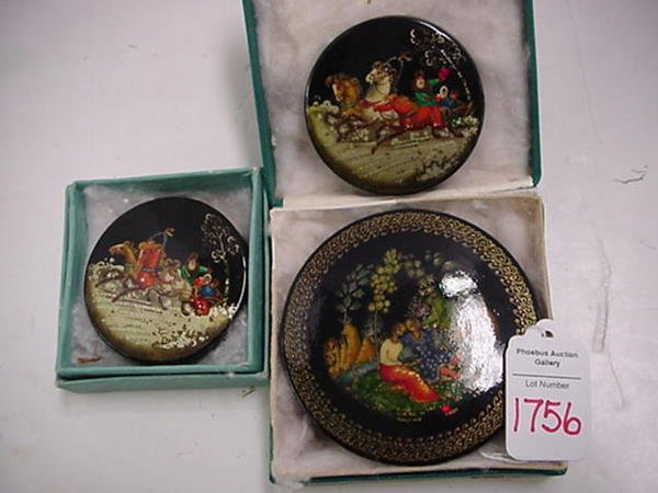1756: 3 Black Lacquered Russian Dresser Boxes: