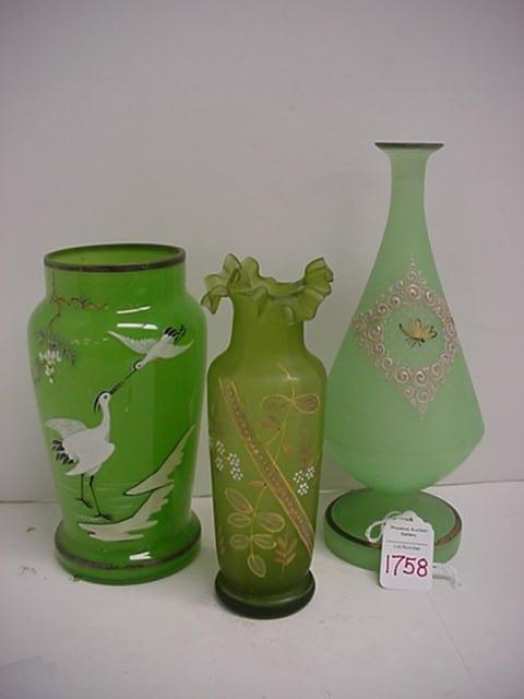 1758: 3 Green Handpainted Art Glass Vases:
