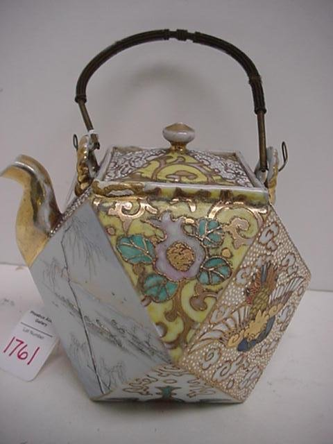 1761: Japanese Moriage Cubed Paneled Tea Pot: