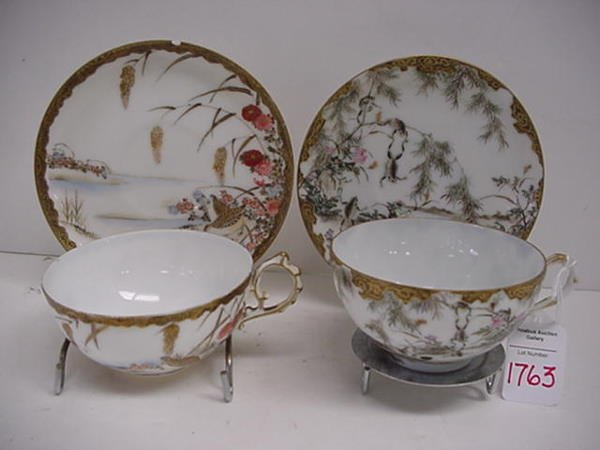1763: 2 Handpainted Eggshell Porcelain Cups and Saucers