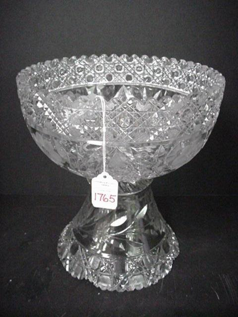 1765: American Brilliant Cut Glass Punch Bowl on Pedest