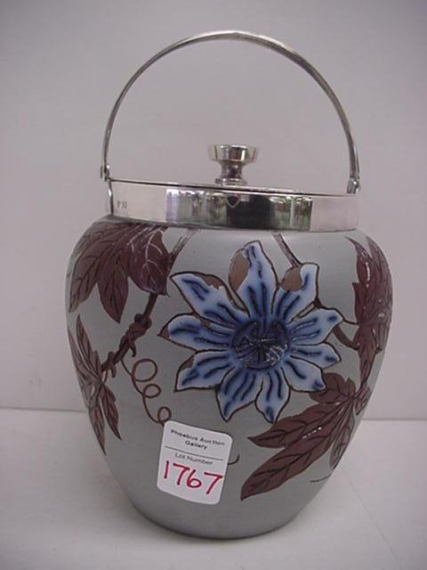1767: Hans Hansen Red Clay Biscuit Jar with Silver Lid: