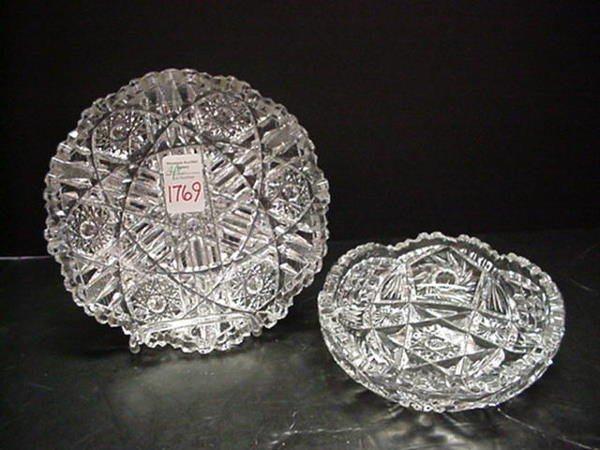 1769: Two Cut Glass Round Bowls: