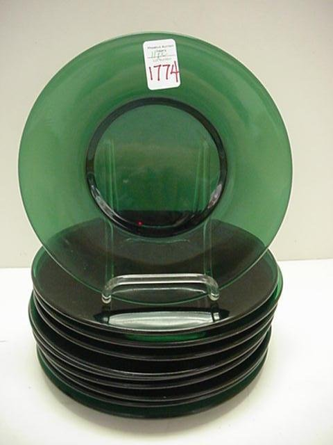 1774: 11 Forest Green Glass Luncheon Plates: