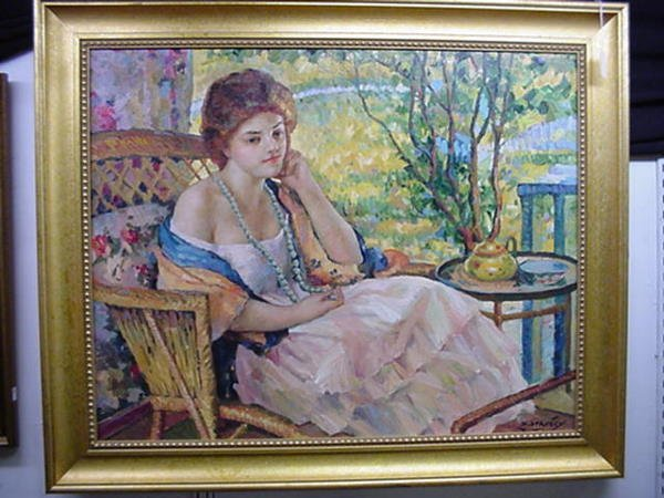 1840: Signed D STANLEY Oil on Canvas Female on Porch: