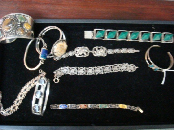 1: Ten Sterling and Silver with Stone Ladies Bracelets: