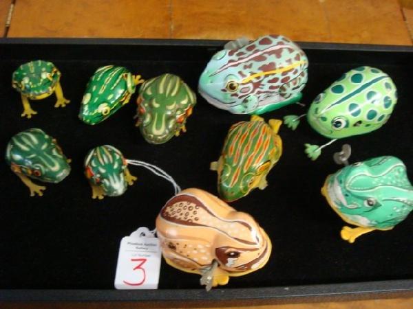 3: Ten Collectible Tin Action Vintage Frog Toys: